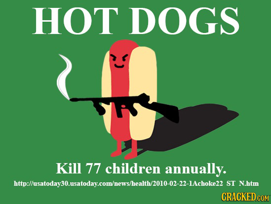 HOT DOGS Kill 77 children annually. http:lusatodaysousatoday.comhnewsliealt/010 01-n-IAchokel S ST N.htm CRACKED co COM