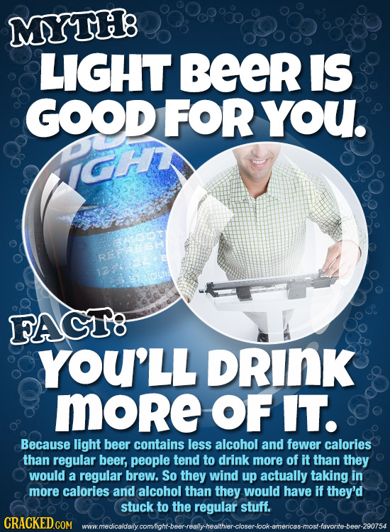 MYTH8 LIGHT BeeR IS GOOD FOR you. RE FAGT8 YOU'LL DRINK more OF IT. Because light beer contains less alcohol and fewer calories than regular beer, peo