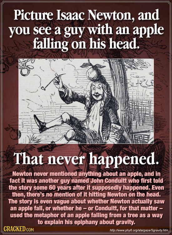 Picture Isaac Newton, and you see a guy with an apple falling on his head. That never happened. Newton never mentioned anything about an apple, and in