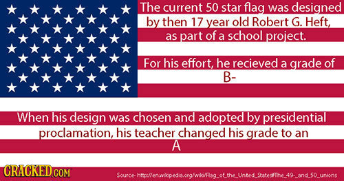 The current 50 star flag was designed by then 17 year old Robert G. Heft, as part of a school project. For his effort, he recieved a grade of B- When