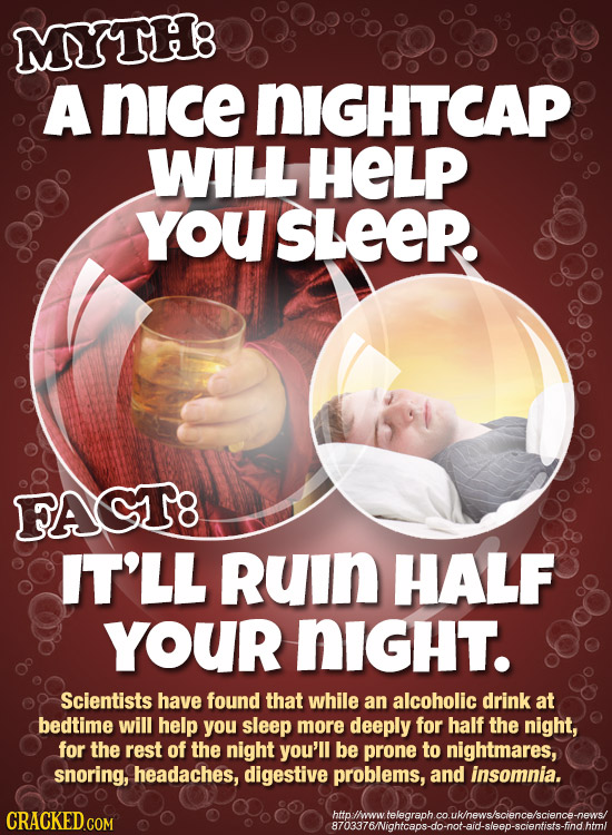 MYTHB A nice NIGHTCAP WALL HELP YoU SLEEP. FAGT8 IT'LL RuIn HALF YOUr NiGHT. Scientists have found that while an alcoholic drink at bedtime will help