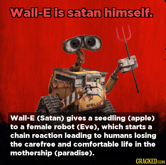 Wal-E is satan himself. WALLL Wall-E (Satan) gives a seedling (apple) to a female robot (Eve), which starts a chain reaction leading to humans losing
