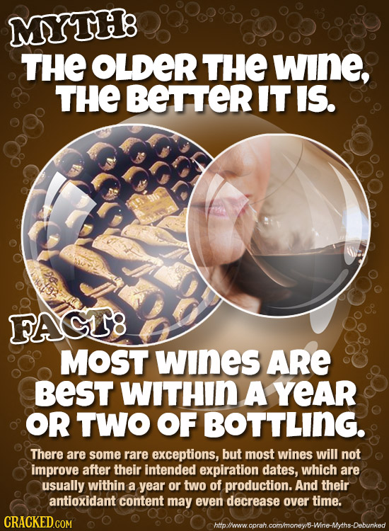 MYTH8 THE OLDER THE WInE, THE BETTER IT IS. FACT8 MOST wInes ARe BEST WITHIN A YEAR OR TWO OF BOTTLING. There are some rare exceptions, but most wines
