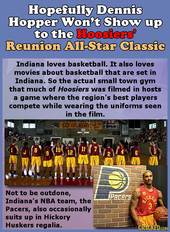 Hopefully Dennis Hopper Won't Show up to the Hoosiers' Reunion Al-Star Classic Indiana loves basketball. It also loves movies about basketball that ar