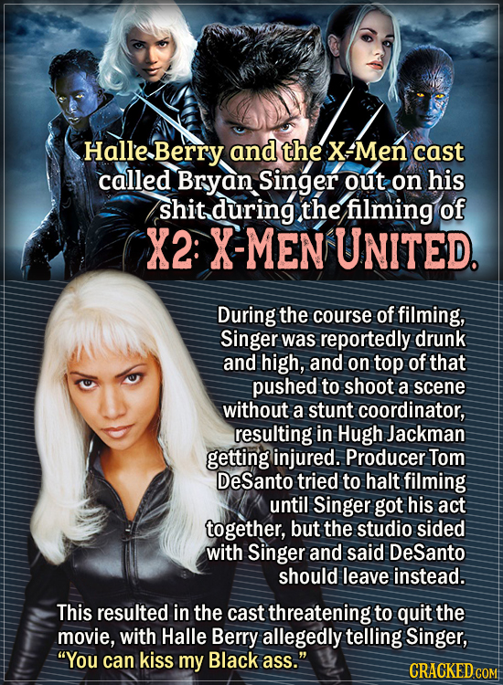 Actors Who Had To Put Their Foot Down During Filming - Halle Berry and the X-Men cast called Bryan Singer out on his shit during the filming of X2: X-