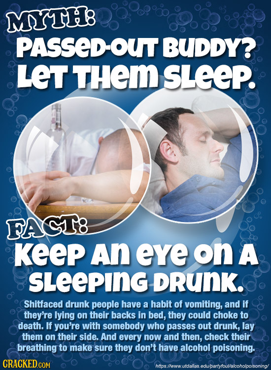 MYTH: PASSED-OUT BUDDY? LeT THeM SLEEP. FAGT8 KeeP An eye on A SLeEPING DRunK. Shitfaced drunk people have a habit of vomiting, and if they're lying o