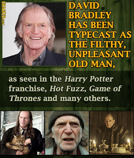 DAVID BRADLEY HAS BEEN TYPECAST AS THE FILTHY, UNPLEASANT OLD MAN, as seen in the Harry Potter franchise, Hot Fuzz, Game of Thrones and many others.