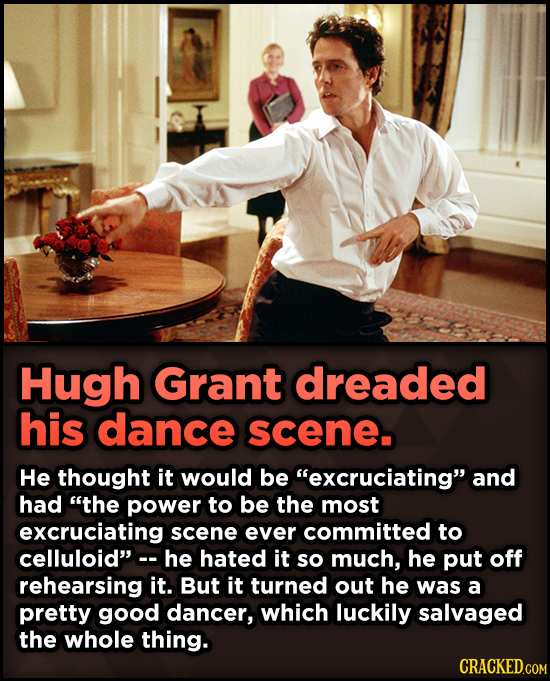 15 Weird Details About Love Actually That You Never Knew -  Hugh Grant dreaded his dance scene. He thought it would be excruciating