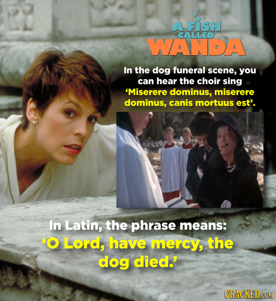 A FISH CALLED WANDA In the dog funeral scene, you can hear the choir sing 'Miserere dominus, miserere dominus, canis mortuus est'. In Latin, the phras