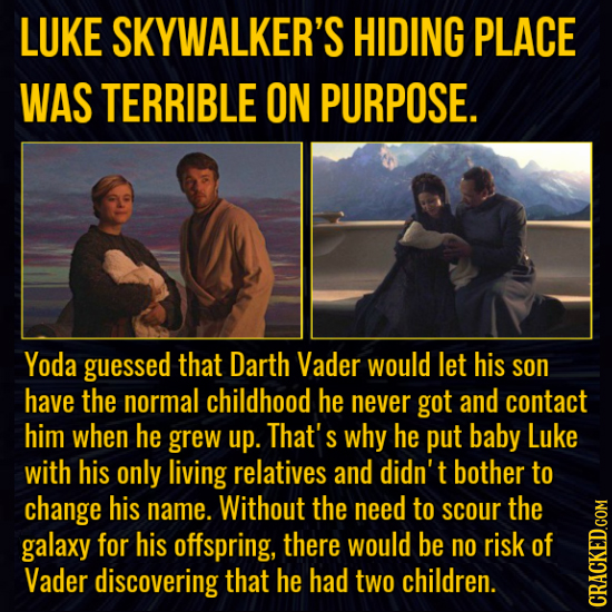 LUKE SKYWALKER'S HIDING PLACE WAS TERRIBLE ON PURPOSE. Yoda guessed that Darth Vader would let his son have the normal childhood he never got and cont