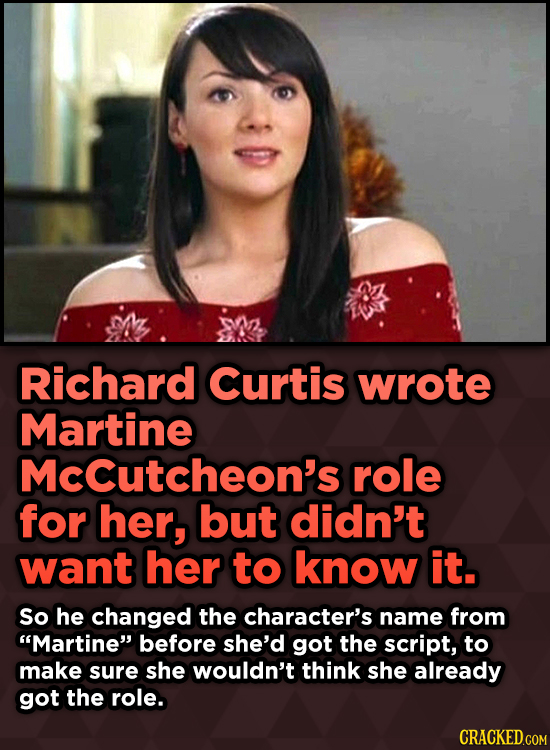 15 Weird Details About Love Actually That You Never Knew - Richard Curtis wrote Martine Mccutcheon's role for her, but didn't want her
