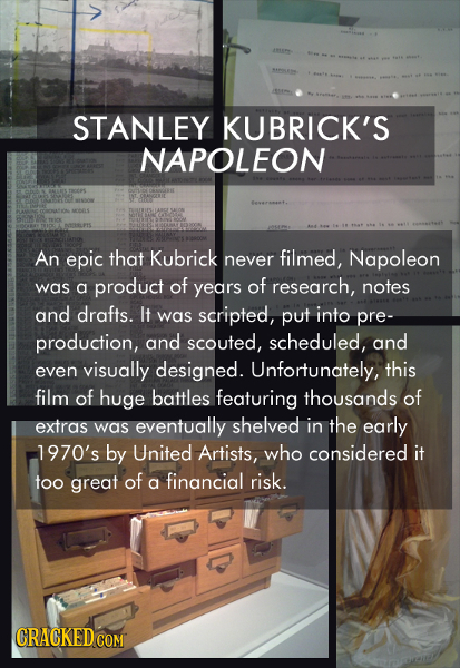 STANLEY KUBRICK'S NAPOLEON An epic that Kubrick never filmed, Napoleon was of of a product years research, notes and drafts. It was scripted, put into