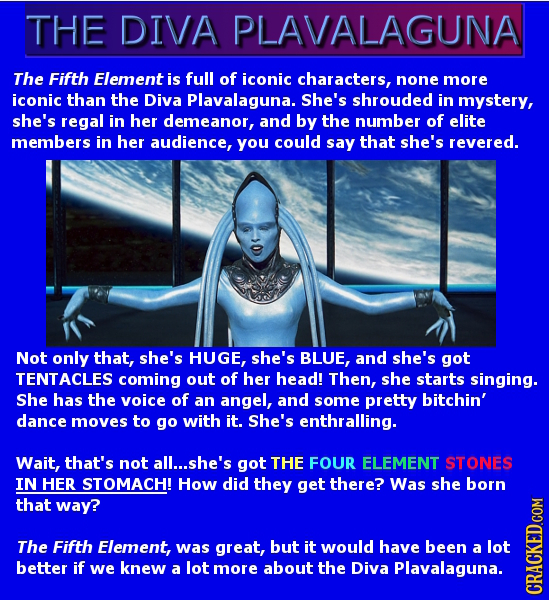 THE DIVA PLAVALAGUNA The Fifth Element is full of iconic characters, none more iconic than the Diva Plavalaguna. She's shrouded in mystery, she's rega