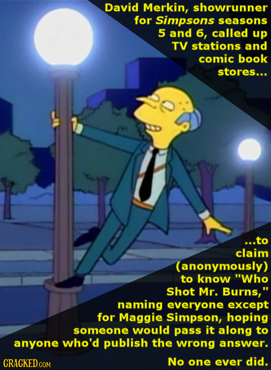 David Merkin, showrunner for Simpsons seasons 5 and 6, called up TV stations and comic book stores... ...to claim (anonymously) to know Who Shot Mr.