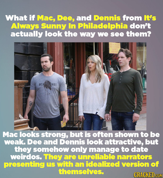 What if Mac, Dee, and Dennis from It's Always Sunny In Philadelphia don't actually look the way we see them? BEATCOAST Mac looks strong, but is often