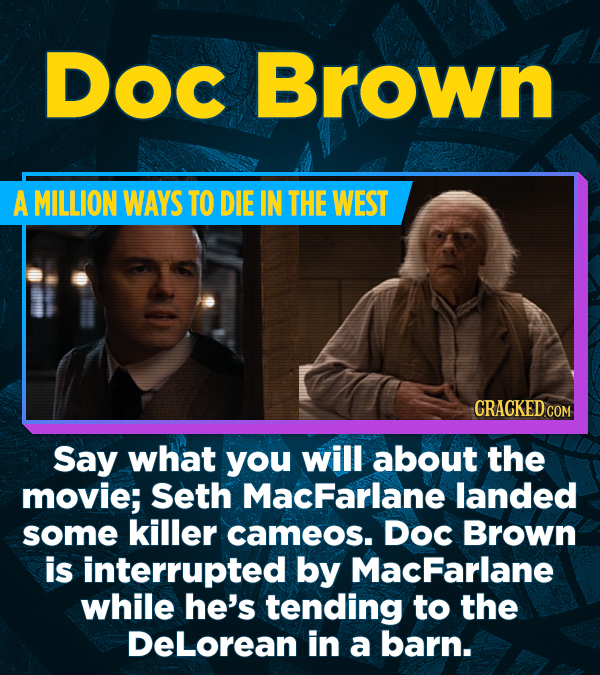 DOC Brown A MILLION WAYS TO DIE IN THE WEST CRACKED COM Say what you will about the movie; Seth MacFarlane landed some killer cameos. Doc Brown is int