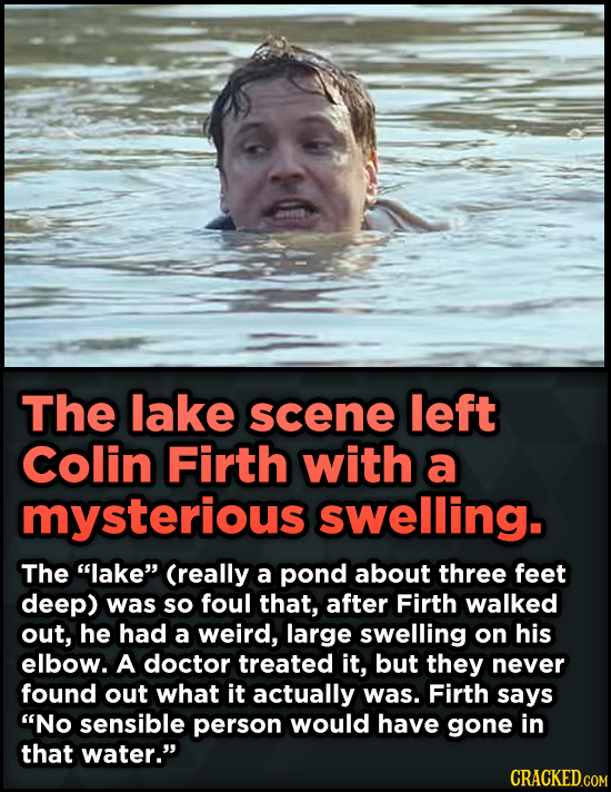15 Weird Details About Love Actually That You Never Knew - The lake scene left Colin Firth with a mysterious swelling. The lake Creally