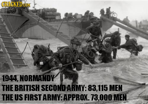 CRACKEDCON 1944, NORMANDY THE BRITISH SECOND ARMY: 83, 115 MEN THE US FIRST ARMY:APPROX. 73.000 MEN