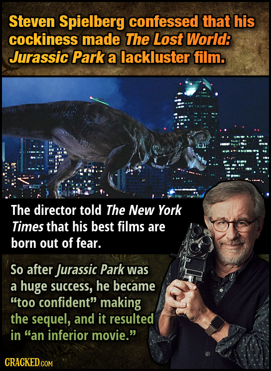 Steven Spielberg confessed that his cockiness made The Lost World: Jurassic Park a lackluster film. The director told The New York Times that his best