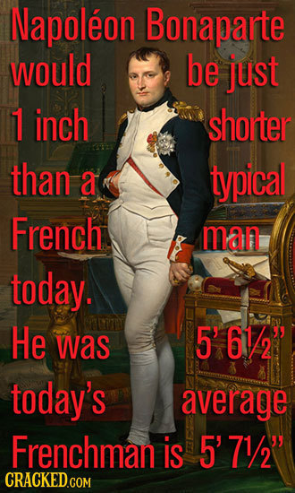 Napoleon Bonaparte would be just 1 inch shorter than a typical French man today. He was 561/2 today's average Frenchman is 5' 71/29 CRACKED.COM