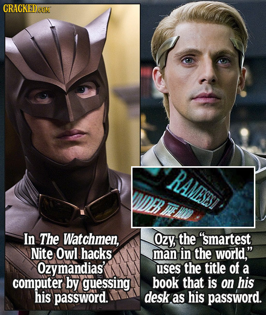CRACKED COM RAMESESI THE In The Watchmen, Ozy, the smartest Nite Owl hacks man in the world, Ozymandias' uses the title of a computer by guessing bo