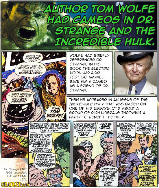 ALTHOR TOM WOLFE HAD CAMEOS IN DR. STRANGE AND THE INCREDIBLE HULK. THE HAD WHAT'S WOLFE BRIEFLY MATTER, REFERENCED DR. DOC STRANGE IN HIS HANENT GOT