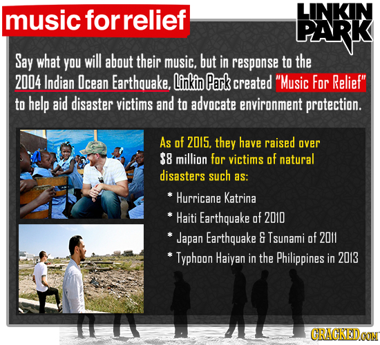 music for relief LINKIN PARK Say what YOu will about their music. but in response to the 2004 Indian Icean Earthquake. Linkin Park created Music For