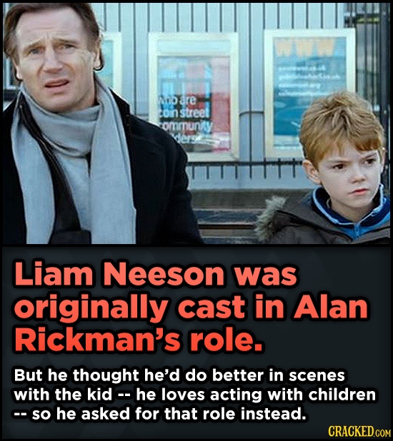 15 Weird Details About Love Actually That You Never Knew - Liam Neeson was originally cast in Alan Rickman's