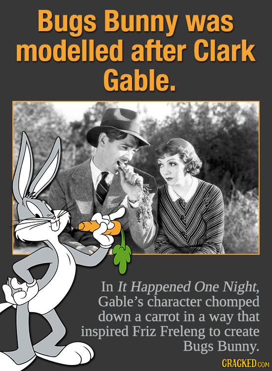 Bugs Bunny was modelled after Clark Gable. In It Happened One Night, Gable's character chomped down a carrot in a way that inspired FriZ Freleng to cr