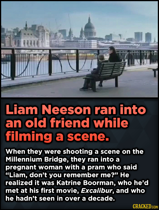 15 Weird Details About Love Actually That You Never Knew - Liam Neeson ran into an old friend while filming a scene. When they were shooting