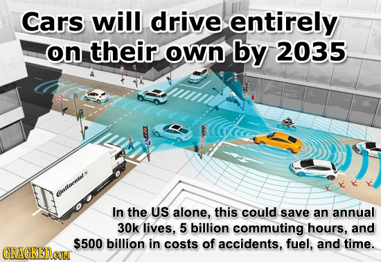Cars will drive entirely on their own by 2035 ouumenene In the US alone, this could save an annual 30k lives, 5 billion commuting hours, and $500 bill