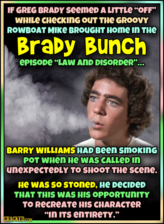 IF GREG BRADY seemed A LITTLE OFF WHILE CHECKING OUT THE GROOVY ROWBOAT MIKE BROUGHT Home In THE Brady Bunch EPISODE LAW And DISORDER... BARRY WIL