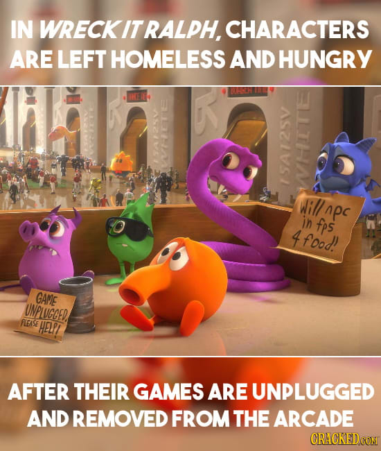 IN WRECKIT RALPH, CHARACTERS ARE LEFT HOMELESS AND HUNGRY n V ISA WHTTE Will ApC in fps 4 food! GAME UNPLUCGED, FLEASE HELPI AFTER THEIR GAMES ARE UNP