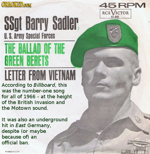 CRACKEDCON 45 RPM RCA VICTOR SSgt Barry Sadler 41-842 U. S. Army Special Forces THE BALLAD OF THE GREEN BERETS LETTER FROM VIETNAM According to Billbo