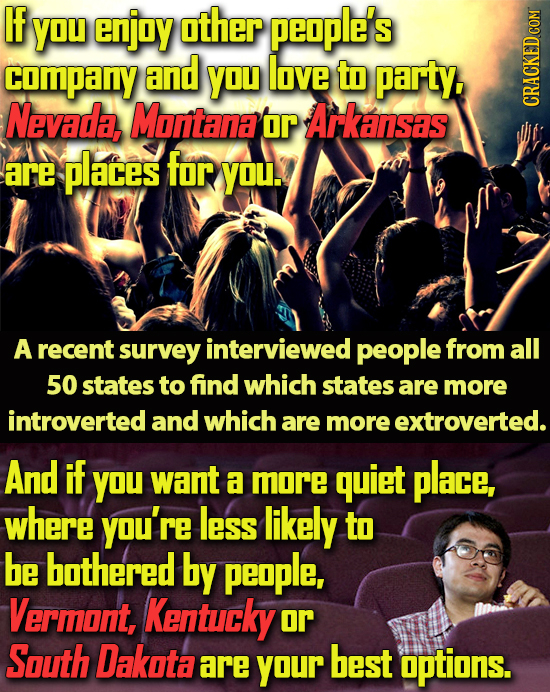 IF You enjay other people's company and You love to party, Nevada Montana or Arkansas HRAKADCONT are places for YOU A recent survey interviewed people