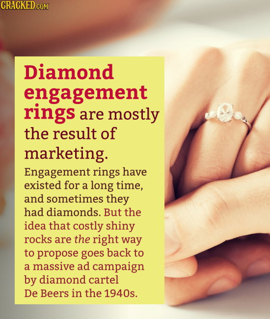 Diamond engagement rings are mostly the result of marketing. Engagement rings have existed for a long time, and sometimes they had diamond