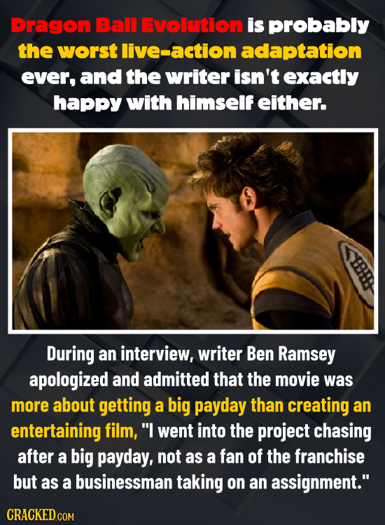 Dragon Ball Evolution is probably the worst ive-action adaptation ever, and the writer isn't exactly happy with himself either. During an interview, w