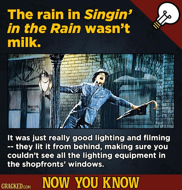 A Fresh Boatload Of Movie And General Trivia - The rain in Singin' in the Rain wasn't milk.
