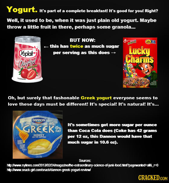 Yogurt. it's part of a complete breakfast! It's good for you! Right? Well, it used to be, when it was just plain old yogurt. Maybe throw a little frui