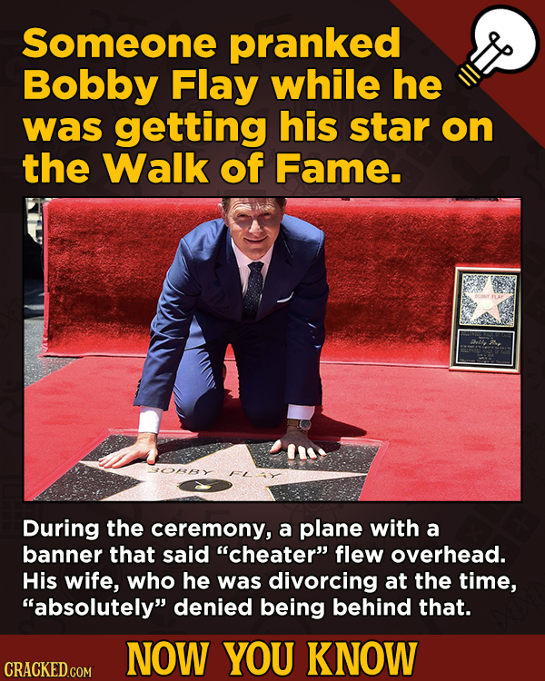 A Fresh Boatload Of Movie And General Trivia - Someone pranked Bobby Flay while he was getting his star on the Walk of Fame.
