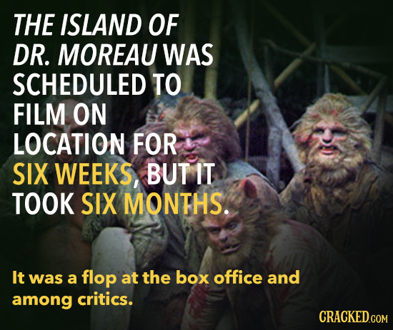 THE ISLAND OF DR. MOREAU WAS SCHEDULED TO FILM ON LOCATION FOR SIX WEEKS, BUT IT TOOK SIX MONTHS. It was a flop at the box office and among critics.