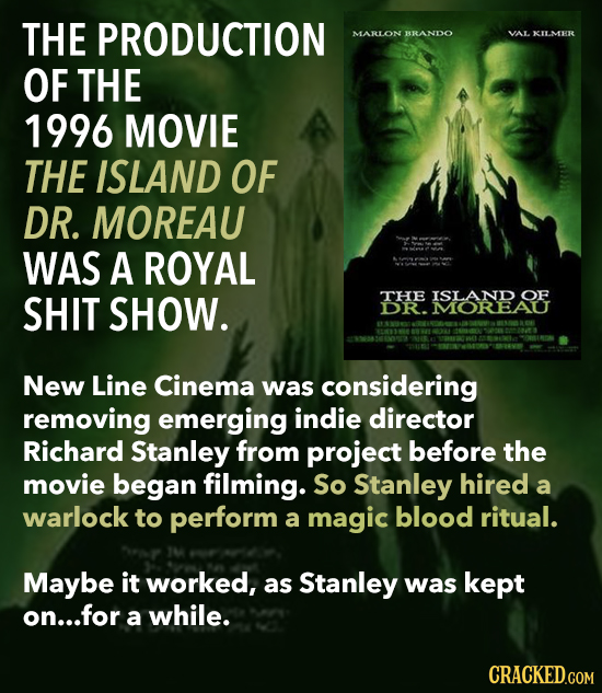 THE PRODUCTION MARLON BRANDO ALKILMER OF THE 1996 MOVIE THE ISLAND OF DR. MOREAU WAS A ROYAL SHIT SHOW. THE ISLAND OF DR. MOREAU New Line Cinema was c
