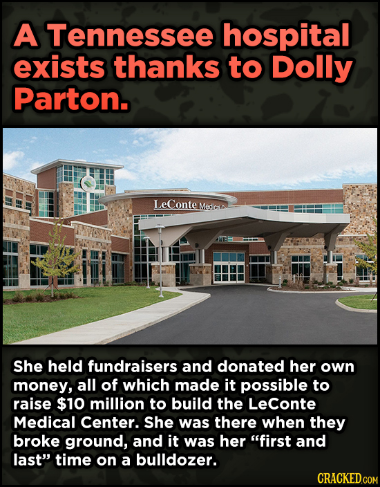 16 Badass, Little-Known Dolly Parton Stories - A Tennessee hospital exists thanks to Dolly Parton. LeConte Medica She held