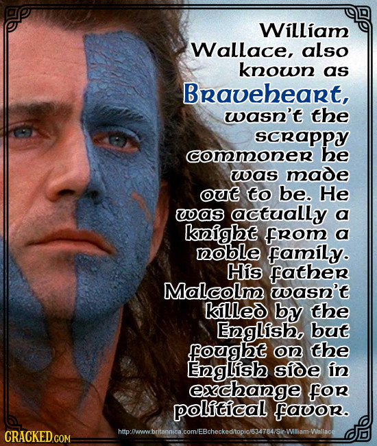 William Wallace, also known as Braveheart, wasn't the scrappy commoner he uas made out to be. He as actually a keight from a hoble family. His Father