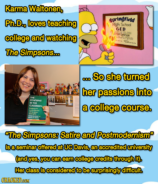 Karma Waltonen, Ph.D., loves springfield teaching High School GED college and watching SePsoN The Simpsons... So she turned o0o her passions into THE