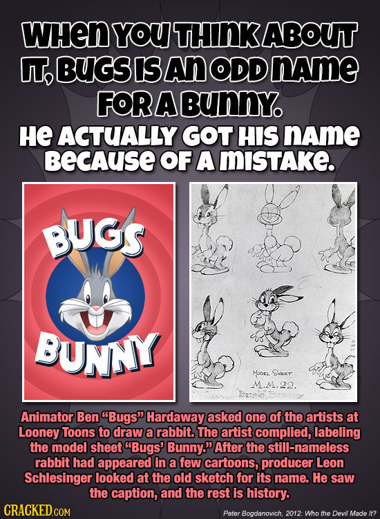 WHEN YOU THINK ABOUT IT, BUGS IS An ODD name FORABUNNY HE ACTUALLY GOT HIS name BEcAuSE OF A MISTAKE. BUGS BUNNY MOOEL SHEET M.M.22. Animator Ben Bug