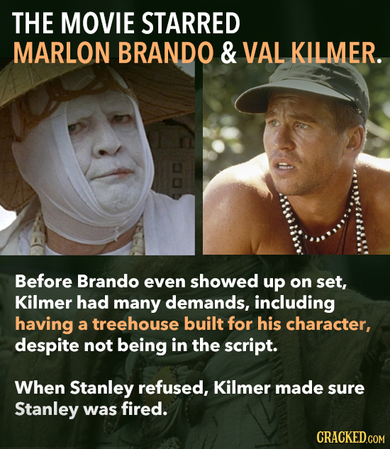 THE MOVIE STARRED MARLON BRANDO & VAL KILMER. Before Brando even showed up on set, Kilmer had many demands, including having a treehouse built for his