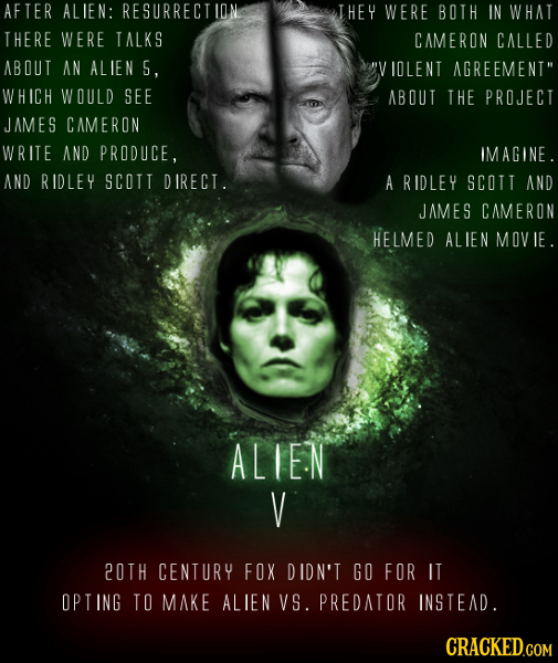 AFTER ALIEN: RESURRECT THEY WERE BOTH IN WHAT THERE WERE TALKS CAMERON CALLED ABOUT AN ALIEN S, IOLENT AGREEMENT WHICH WOULD SEE ABOUT THE PROJECT JA