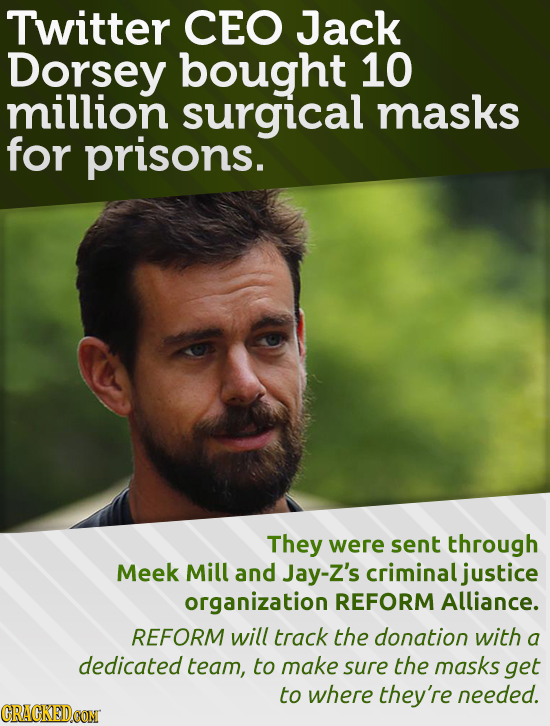 Twitter CEO Jack Dorsey bought 10 million surgical masks for prisons. They were sent through Meek Mill and Jay-Z's criminal justice organization REFOR
