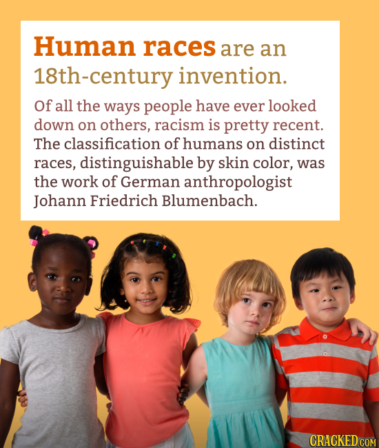 Human races are an 8th-century invention. Of all the ways people have ever looked down on others, racism is pretty recent. The classification of human